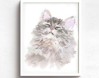 Beautiful Animal Art Cute Home Decor Cute Siberian Cat Canvas Artwork Wild Animal Nature Gift Lovely Wall Art