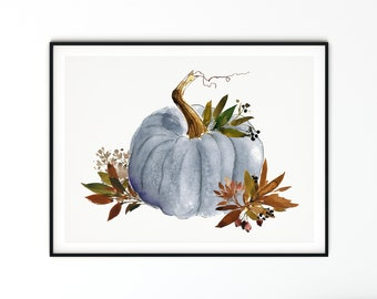 Blue Gray Watercolor Pumpkin With Fall Leaves Print, Autumn Blue Gray Pumpkin Wall Art, Fall Pumpkin Watercolor Print, Fall Pumpkin Prints