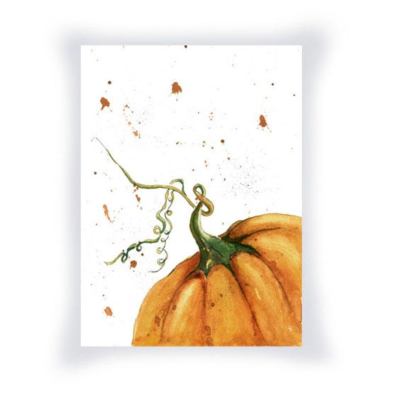 Pumpkin Print from Original Watercolor image 0