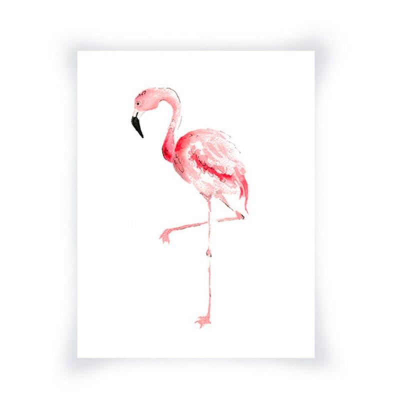 Pittura ad acquerello fenicottero rosa stampa Flamingo parete  349bcce67adb