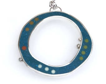 Big Statement Piece Reversible Pendant Resin and Silver Organic Wonky Turquoise Pink