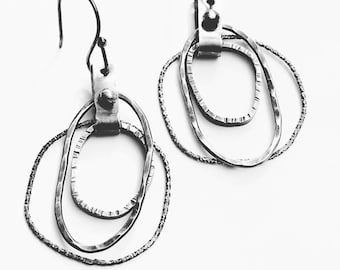 Bunch of Hoops Earrings Layered Silver Hammered Textured Organic Circles