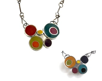 Handmade Silver Chain | Art Jewelry | Reversible Pendant | Hand Forged Chain | Resin and Sterling