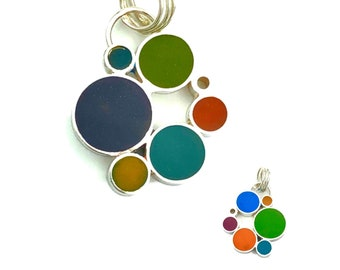 Bubble Cluster Pendant | Silver and Resin Double Sided  Charm | Colorful Reversible Jewelry
