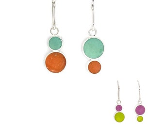 Handcrafted Earrings • Reversible Resin and Silver Jewelry • Mismatched Colored Earrings • Perfect Gift