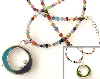 Open Circle Resin Pendant Faceted Bead Chain Necklace Colorful Jewelry