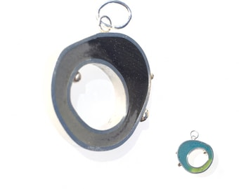 Ombre Open Organic Circle Pendant Silver Resin Wonky Shape Colorful Reversible