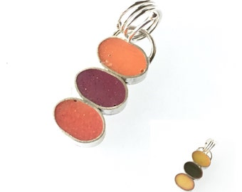 Stacked Bubble Column Pendant Silver and Resin Double Sided Reversible Colorful Green Magenta Orange