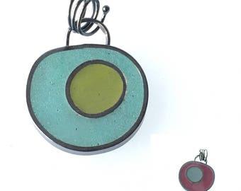Reversible Resin Pendant Sterling Silver Colored Epoxy Green Blue Purple Oxidized Silver