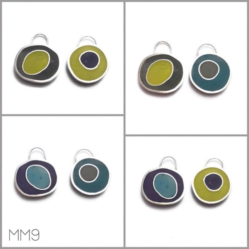 Double Sided Earrings Pendant Silver Resin Colorful Reversible image 0