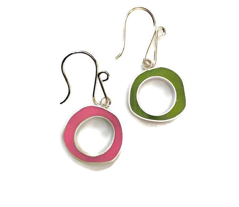 Colored Hoop Earrings  Reversible Resin Hoops  Mismatched image 0