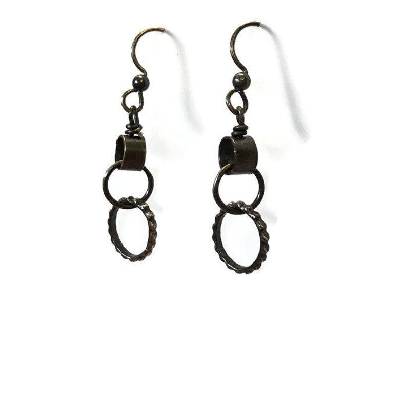 Linked Circles Earrings Oxidized Silver Rings Industrial image 0