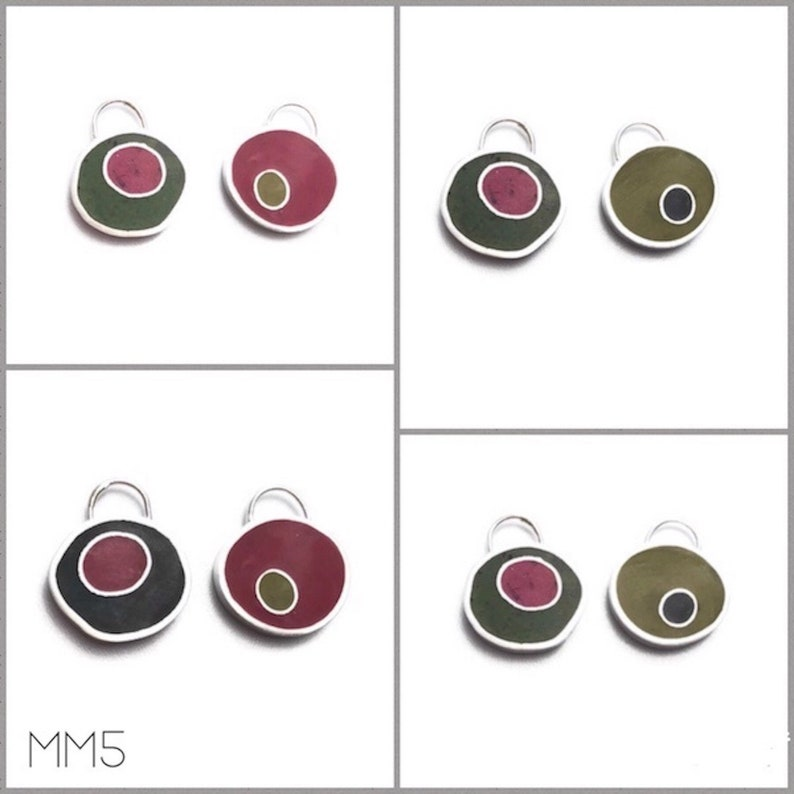 Mix and Match Earrings /Pendant Gift Set Silver Resin image 0
