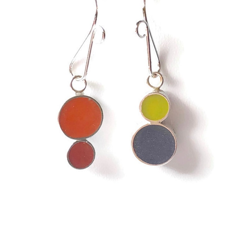 Convertible Silver Earrings 2-in-1 Mismatched Colorful Matte image 0