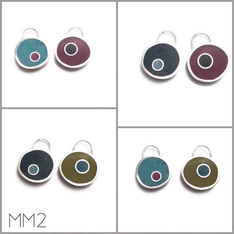 Mix and Match Earrings /Pendant Silver & Resin Reversible image 0