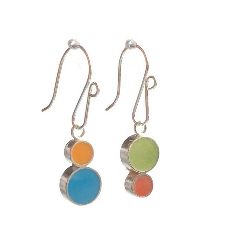 Stacked Dots Reversible Resin Silver Earrings Colorful Circles image 0