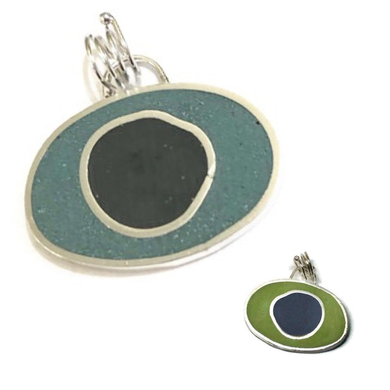 Double Sided Circles Pendant Slide Resin and Sterling Silver image 0