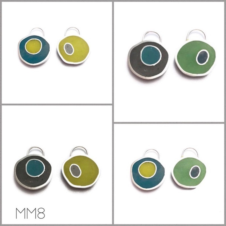 Reversible Earrings Pendant Silver Resin Colorful Double Sided image 0