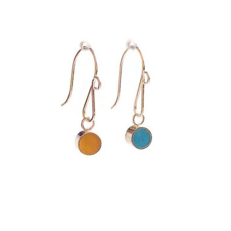 Small Dot Earrings-Reversible Resin Silver Earrings Colorful image 0
