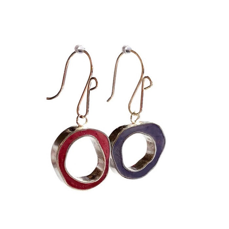 Thick Hoops Reversible Resin Silver Earrings Wonky Circles image 0