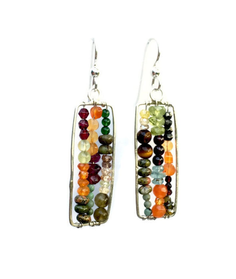 Silver Beaded Abacus Earrings Multicolored Semi Precious image 0