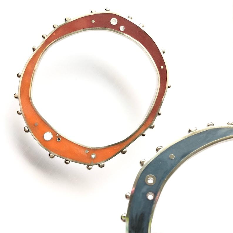 Reversible Colorful Bangle  Handmade Sterling Bracelet  image 0