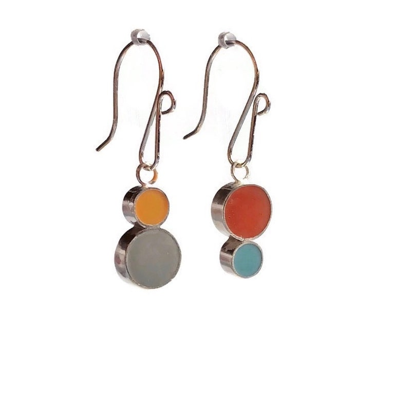 Double Dot Reversible Resin Silver Earrings Colorful Circles image 0