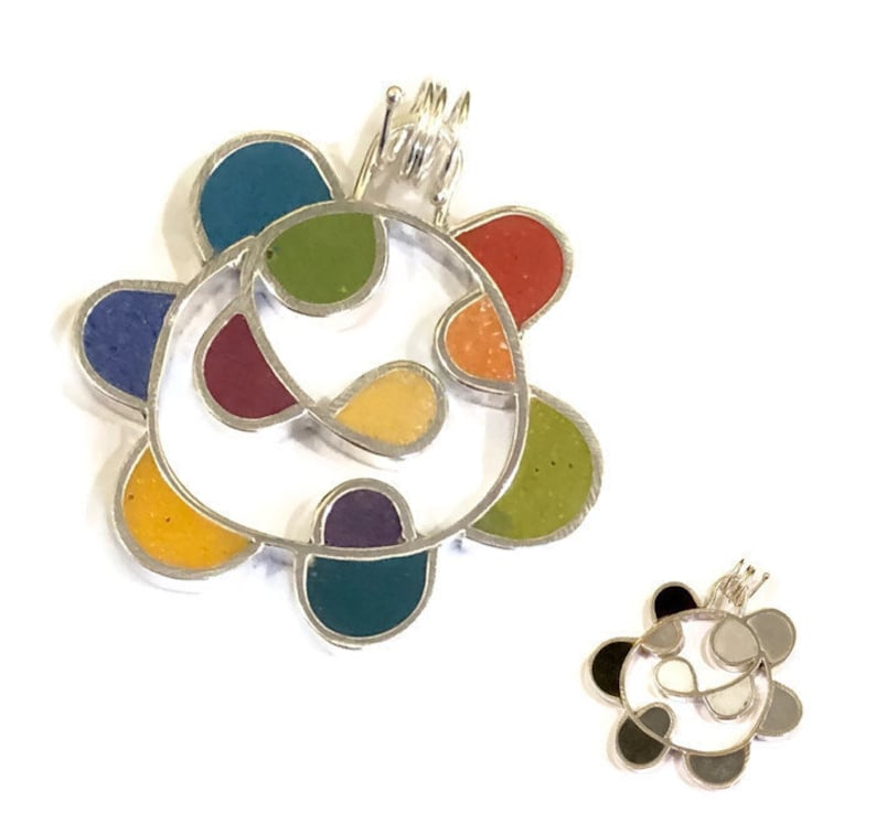 Colorful Reversible Pendant Silver and Resin Double Sided image 0
