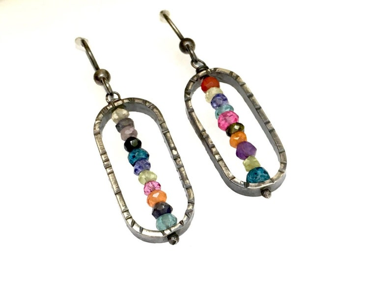Silver Beaded Dangle Earrings Oblong Oxidized Textured image 0