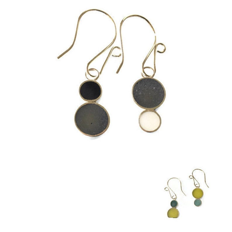 Reversible Resin Silver Earrings Colorful Circles Black and image 0