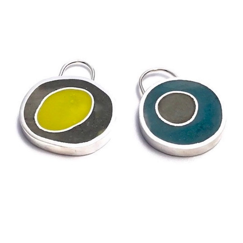 Double Sided Earrings/Pendant  Silver & Colorful Resin image 0