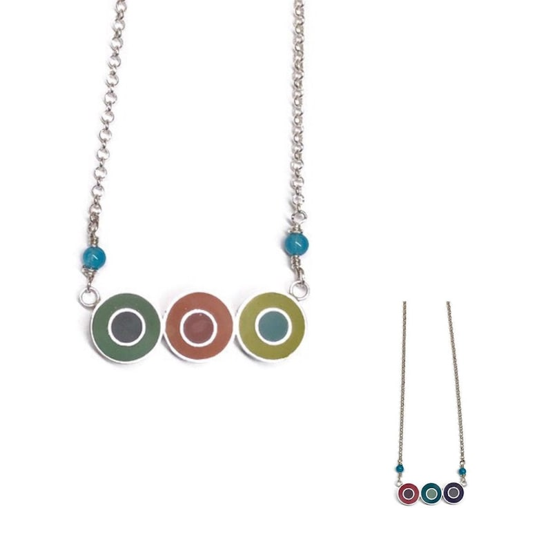 Reversible Silver Resin Necklace Circles  in a row Multicolor image 0