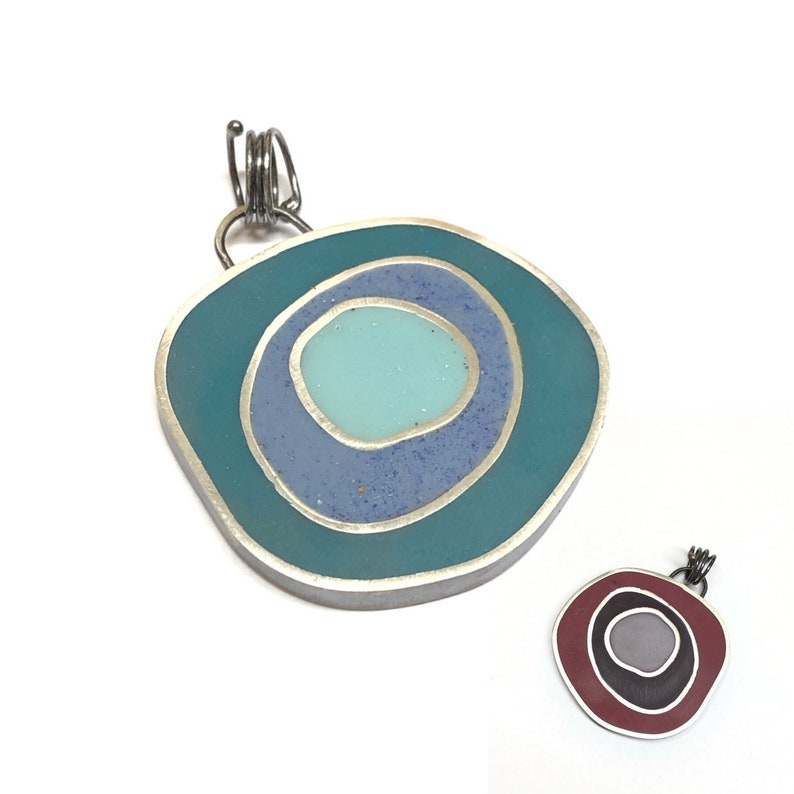 Funky Reversible Concentric Circles Pendant Slide Sterling image 0