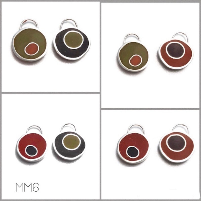 Mix & Match Earrings/Pendant Gift Set Silver Resin Reversible image 0