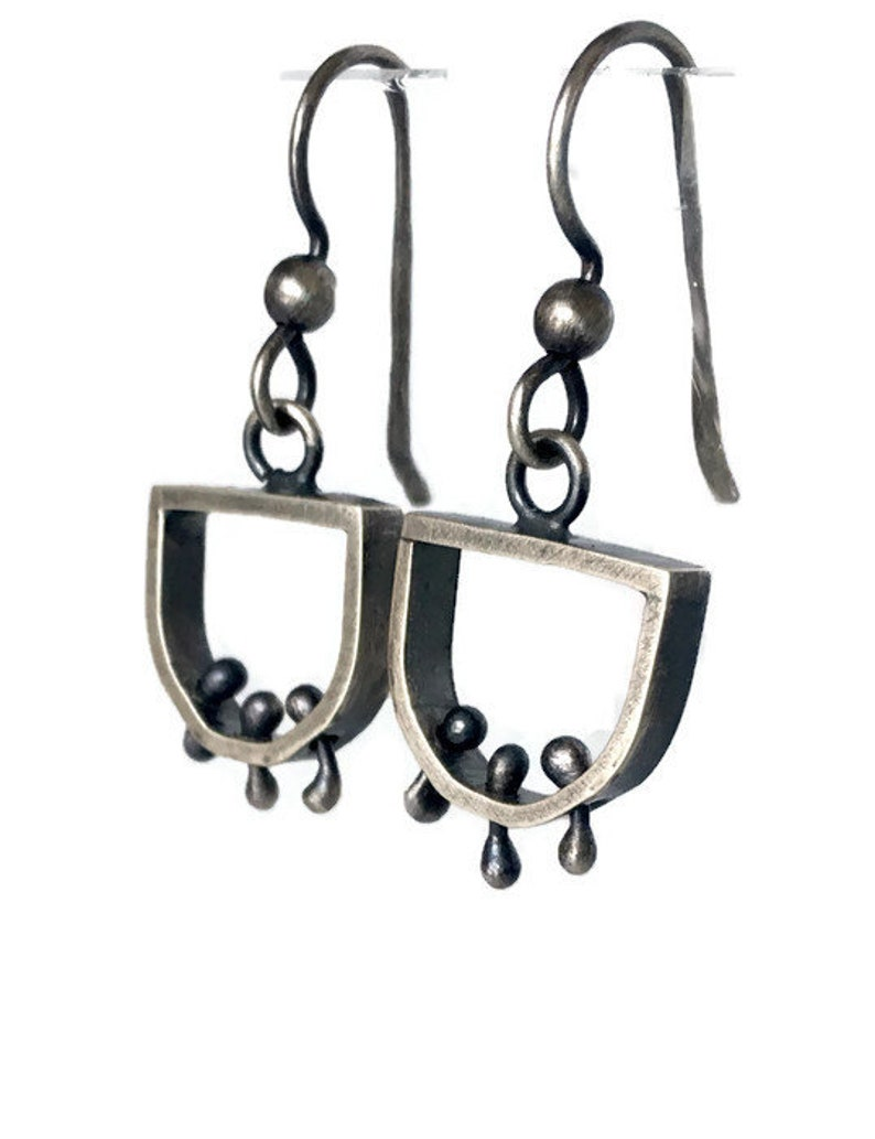 Kinetic Oxidized Silver Earrings Semi Circle Wiggly Industrial image 0