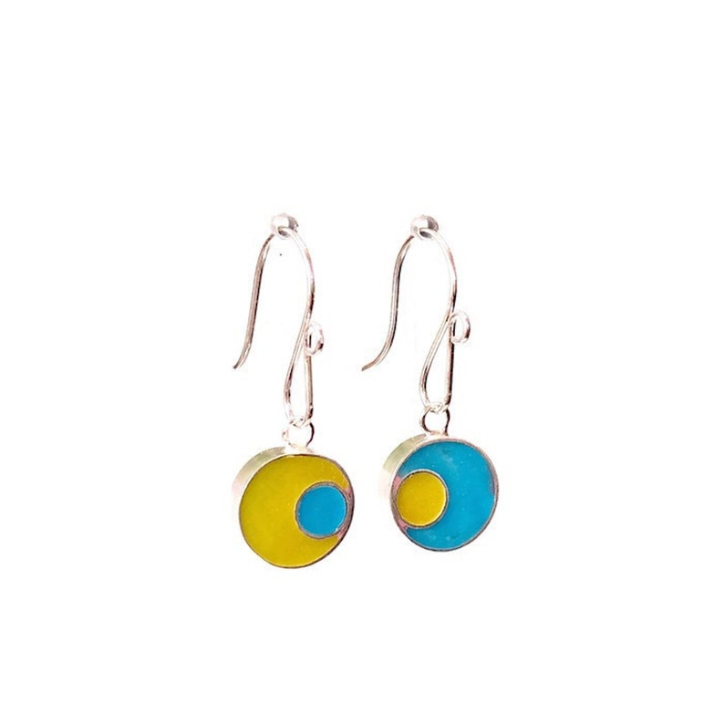 Reversible Mismatched Earrings Silver/Resin Small Double image 0