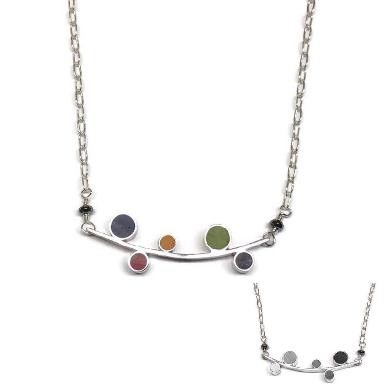 Reversible Silver Resin Necklace Circles on a Bar Multicolor image 0