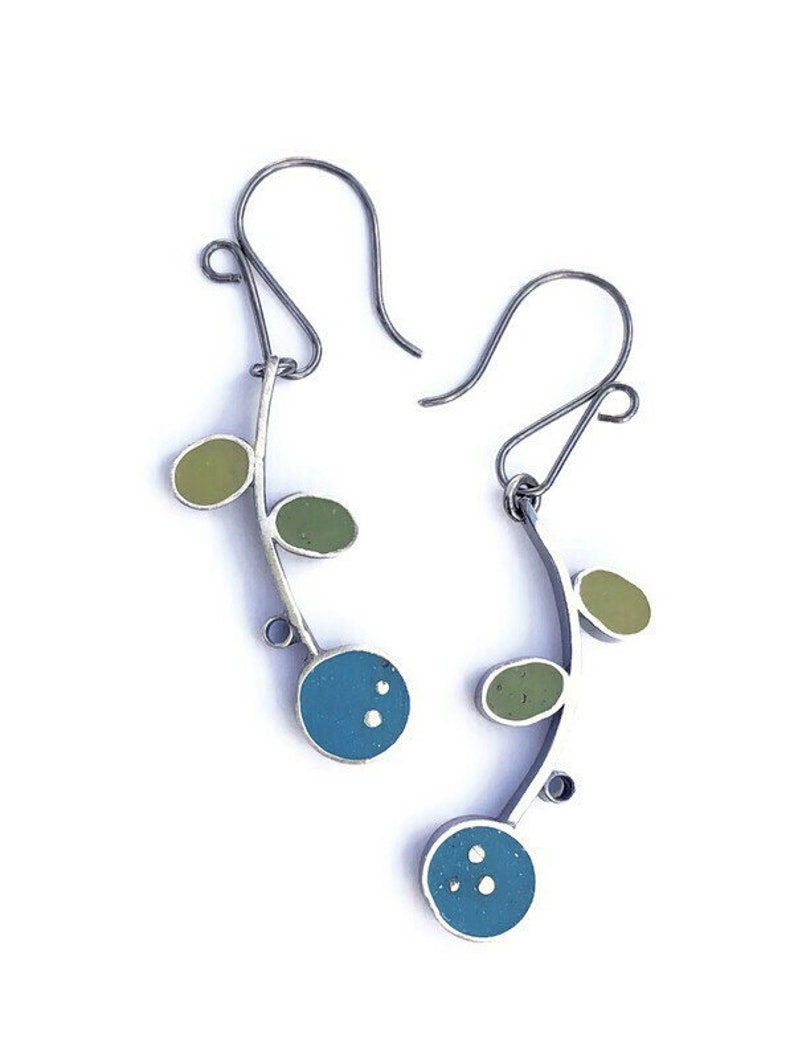 Reversible Flower Earrings Silver and Resin Cute Colorful image 0