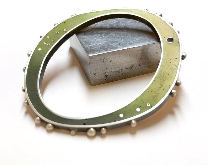 Resin Silver Bangle Bracelet Reversible Green Orange Ombre image 0