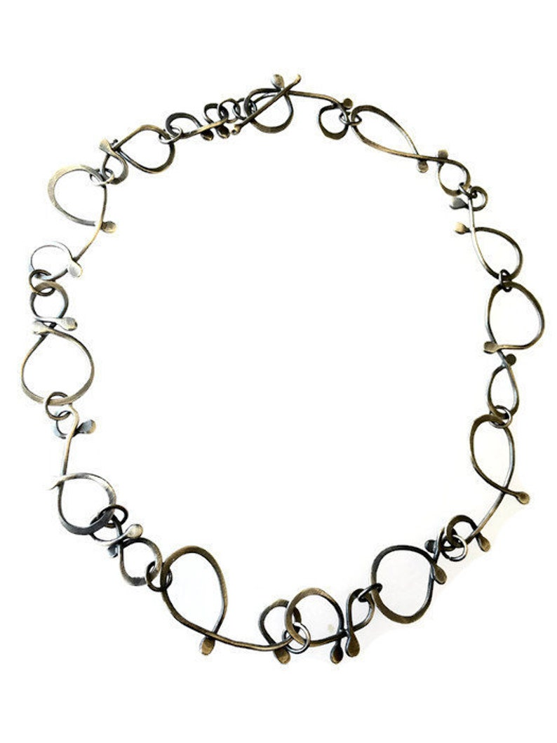 Handmade Chain  Oxidized Silver Necklace  Forged Wrought image 0