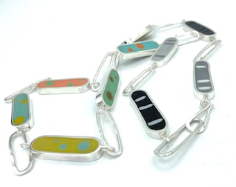 Reversible Long Silver Necklace•Colored Dots /Circles• Hand Forged Hammered Chain•Colorful Resin & Sterling Jewelry