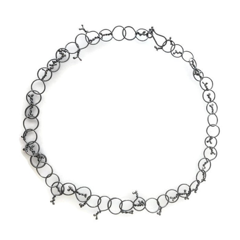 Silver Chain Necklace Handmade Forged Wrought Twisted Oxidized image 0