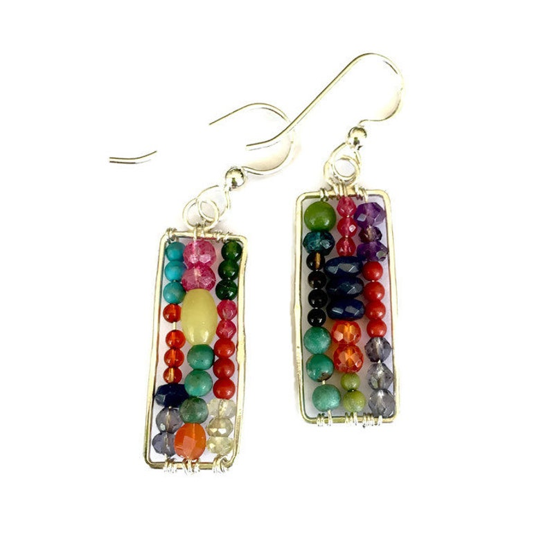 Mismatched Beaded Dangle Colorful Abacus Earrings Multicolored image 0
