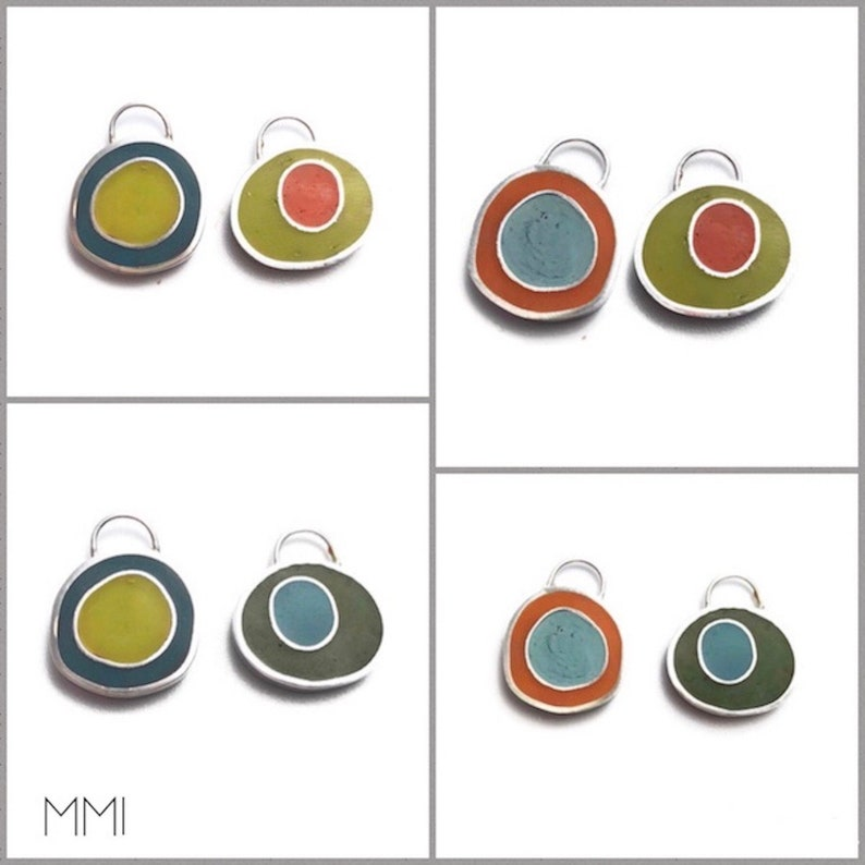 Reversible Mix and Match Earrings /Pendant Gift Set Silver image 0