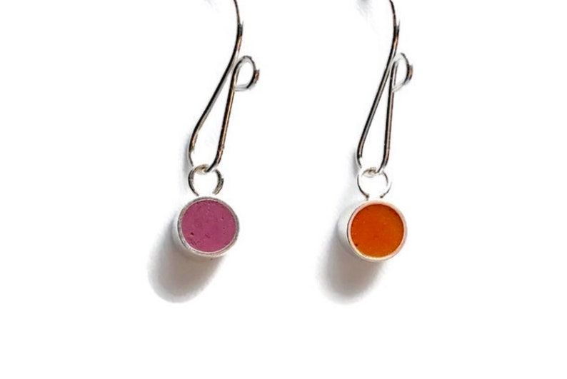 Tiny Dangle Earrings-Reversible Resin Silver Earrings  image 0