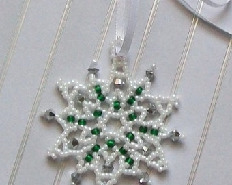 FROZEN Beaded Snowflake Ornament with Swarovski Crystals in White, and Green and Silver