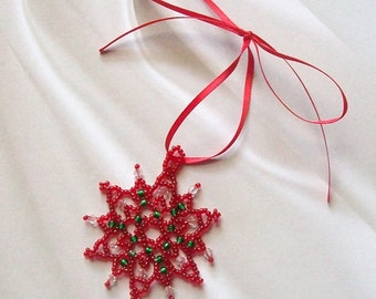 FROZEN Christmas Beaded Snowflake Ornament with Swarovski Crystals in Red and Green