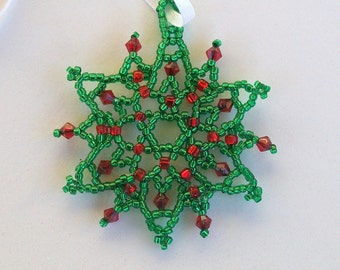 FROZEN Christmas Beaded Snowflake Ornament with Swarovski Crystals in Green and Red