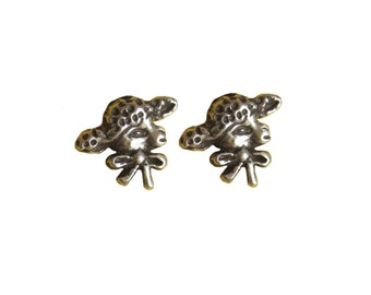 Lamb Earrings     studs posts bow silver gold jewelry