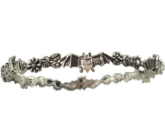 Bat & Flowers Bracelet   daisy silver gold bangle jewelry